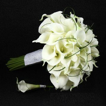 Elegant Handmade Calla Lily Flower Wedding Bride Bouquet and 1 Pc Groom Boutonniere Set