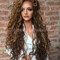 Honey Blonde Balayage WavyHuman Hair Blend Multi Parting Lace front wig