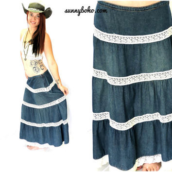 Vintage 70s denim prairie skirt M retro 1970s Willie Smith denim lace boho skirt hippie denim maxi skirt SunnyBohoVintage