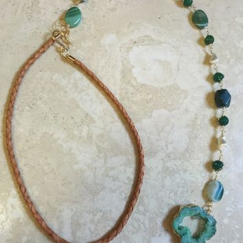 Green Calcite Fresh Water Pearl Long Hang Choker