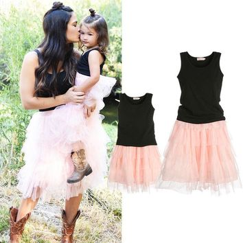 Mommy & Me Matching Pink Tule Layered Skirt & Blk Top