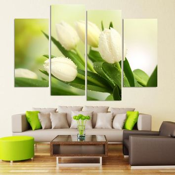 4 Piece White Tulip Flower HD Wall Modular Picture Decorative Art Print Painting On Canvas For Living Room Home Decoration