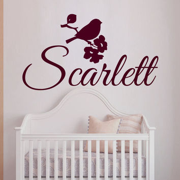 Wall Decals Personalized Name Vinyl Stickers Bird Flowers Girl Nursery Art LM69