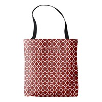 Personalized Red Quatrefoil Tote Bag