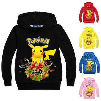 Z&Y 3-16Years Pokemon Hoodie Pikachu Costume Kids Clothes Christmas Jumper Boys Sweatshirt Regenjas Casaco Menina Meisjes Jas