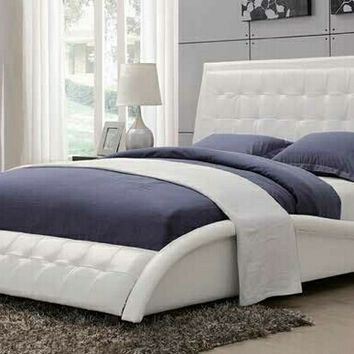 Tully collection white faux leather upholstered queen bed set with tufted accents
