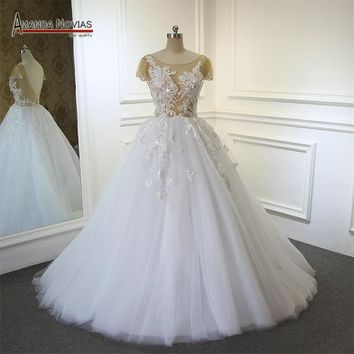 robe de mariage Low Back Lace Appliqued Short Sleeve Transparent See Through Wedding Dress
