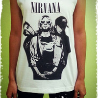 Nirvana - Legend Rock Band US Nirvana Lead Singer Woman Tank Top Crop Vest Tshirt T Shirt Tees S, M