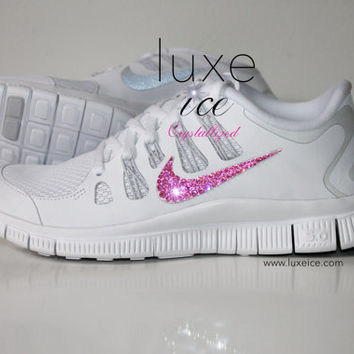 NIKE run free 5.0 shoes w/Swarovski Crystals detail - White/Metallic Silver/Pure Platinum