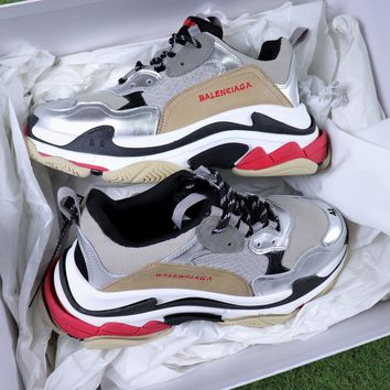 Balenciaga Triple-S 17FW Retro Sneaker Silver Brown Shoes  - Best Online Sale