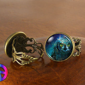 Midnight Blue Owl Bird Nature Womens Adjustable Ring Rings Jewelry Gift
