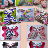 JUMBO X LARGE Chevron Print Ribbon Hair Bow Karens Creations
