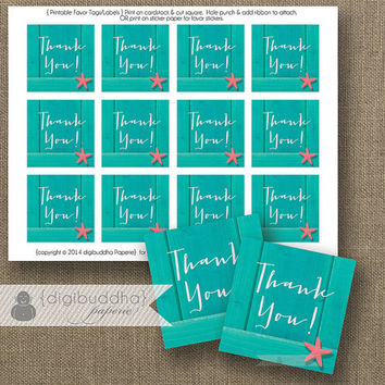 Teal & Coral Starfish Favor Tags INSTANT DOWNLOAD Beach Turquoise Wood Thank You Tags Bridal Shower Wedding Labels DIY Printable- Paige