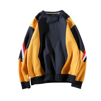 Skateboard Skater t-Shirt MCCKLE Color Block Patchwork Fleece Hooded T-Shirt Mens  Spring Casual Pullover Sweatshirts Male Hip Hop  Tee AT_45_3