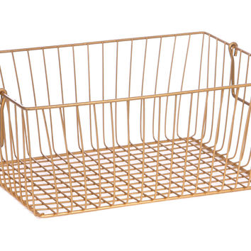 Rectangle Wire Basket, Gold, Storage Baskets