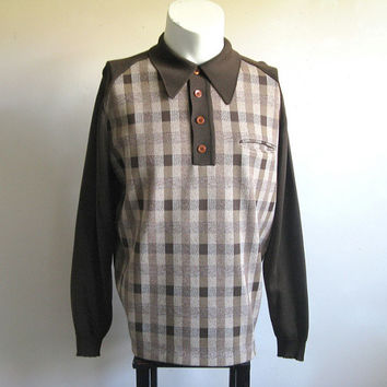 Vintage 1970s Knit Top Polo Style Dark Brown Check Jersey Knit Shirt Mens Shirt XL