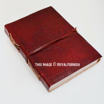 Maroon Floral Leather Journal Diary Travel Notebook on RoyalFurnish.com