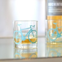 2 bicycle rocks glasses turquoise bike by vital on Etsy