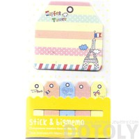 Large Eiffel Tower Print Travel Themed Memo Pad Post-it Index Sticky Bookmark Tabs in Yellow