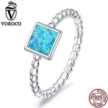 VOROCO 2017 Pure 925 Sterling Silver Square Blue Fire Opal Stone Unique Minimalist Rings for Women Party Fine Jewelry VSR105