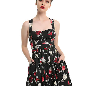 Hell Bunny Floral Bow Back Halter Dress