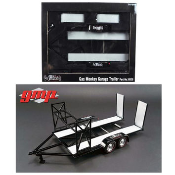 Tandem Car Trailer with Tire Rack Gas Monkey Garage 1-18 Diecast Model by GMP
