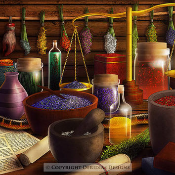 Fantasy Art / Witch Magic Alchemy / Snake Eyeballs Medieval / Original Digital Illustration / Wall Print / Werewolf Brew Herbs Gift Decor