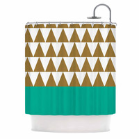 "Suzanne Carter ""Geo Green"" Black Green Shower Curtain"