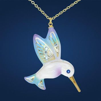 Glass Baron Gold Trim Hummingbird Necklace