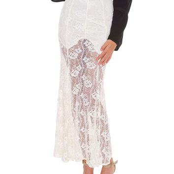 On My Mind Lace Maxi Skirt - Ivory