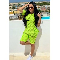 LV Louis Vuitton Trending Women Popular Print Shorts Sleeve Top Shorts Set Two Piece Sportswear Fluorescent Green