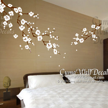 Cherry blossom wall decals nursery white flower vinyl wall decal tree nature wall sticker children decals nursery wall mural- Z163 cuma