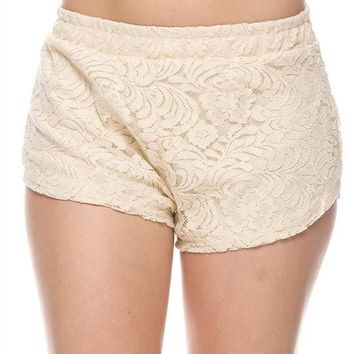 Floral Lace Crochet Banded Waist Pleated Skorts Fitted Mini Shorts with Lining