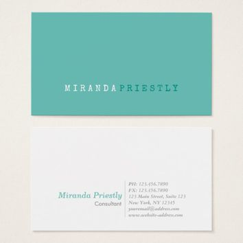 Professional Modern Simple Minimalist Light Teal Business Card
