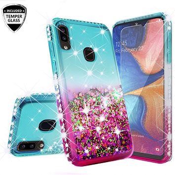 Samsung Galaxy A20 Case Liquid Glitter Phone Case Waterfall Floating Quicksand Bling Sparkle Cute Protective Girls Women Cover for Samsung Galaxy A20 W/Temper Glass- (Teal/Pink Gradient)