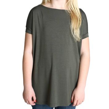 Army Green Piko Kids Short Sleeve Top