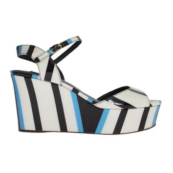 Blue Striped Leather Wedges Sandals