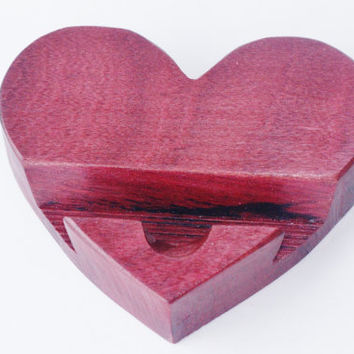 Heart Shaped Phone stand fits Android iPod iPhone Made of Naturally Beautiful Brazilian Purpleheart Wood Android
