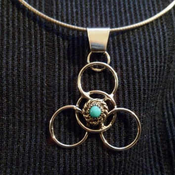 Authentic Navajo,Native American,Southwestern sterling silver sleeping beauty turquoise geometric circle statement pendant/necklace.