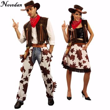 Adult Western Cowgirl Cowboy Costume Dress With Hat Carnival Halloween Party Sexy Outfit Cosplay Costumes For Women Men