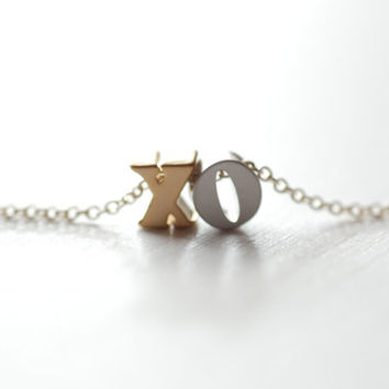 XO Necklace, XO necklace on gold filled chain, delicate modern jewelry