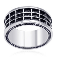 Mens Blacked Out Web Stainless Steel Ring with Miligrain Rope Details - Size 9