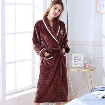 New Arrival Chinese Female Coral Fleece Robe Kimono Gown Winter Thick Warm Nightgown Sleepwear Women Casual Home Wear WR086