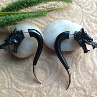 "Fake Gauge Earrings, ""Dragon Spikes"" Hand Carved, Horn, Silver Ends, Naturally Organic, Tribal"
