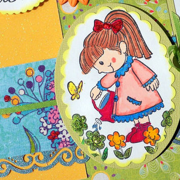 Easter Card Handmade - Gardener Gift Card -  Hand Stamped and Painted Glitter Greeting Card - Flowers Butterfly