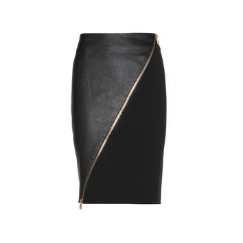 emilio pucci - leather and wool-blend skirt