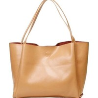 Pure Color Casual Leather Handbag
