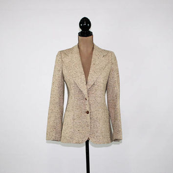 Vintage 70s Beige Tweed Blazer Jacket Women Fitted Wool Blazer XS Small Beige Blazer Fall Jacket Union Made Vintage Clothing Womens Clothing