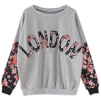 ROMWE | London Printed Roses Sleeves Grey Sweatshirt, The Latest Street Fashion