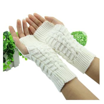 Pretty Stylish Winter Hand Arm Crochet Knitting Wool Mitten Fingerless Glove